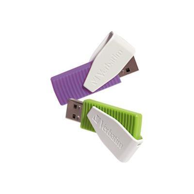 Verbatim 98425 Store 'n' Go Swivel - USB flash drive - 16 GB - USB 2.0 - green  violet (pack of 2)