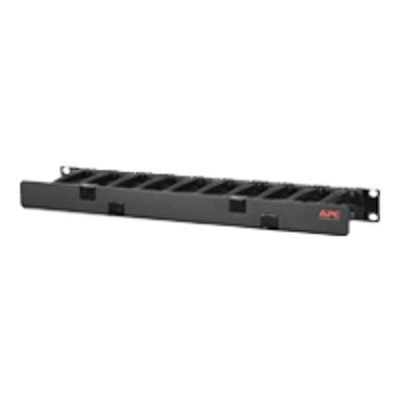 APC AR8602A Horizontal Cable Manager Single-Sided with Cover - Rack cable management kit - black - 1U - 19 - for P/N: AR3100  AR3150  SMX3000RMHV2UNC