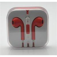 Global Galaxy Stereo Earbud Headphone Headset with Mic and Remote for Apple iPhone & iPad - Red