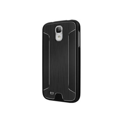 Cygnett CY1181CXURB UrbanShield - Protective cover for cell phone - polycarbonate  brushed aluminum - black - for Samsung GALAXY S4