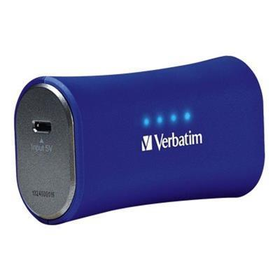 Verbatim 98358 Portable Power Pack - External battery pack Li-Ion 2200 mAh - on cable: Micro-USB - cobalt blue