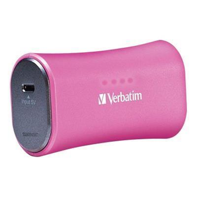Verbatim 98361 Portable Power Pack - External battery pack Li-Ion 2200 mAh - on cable: Micro-USB - pink