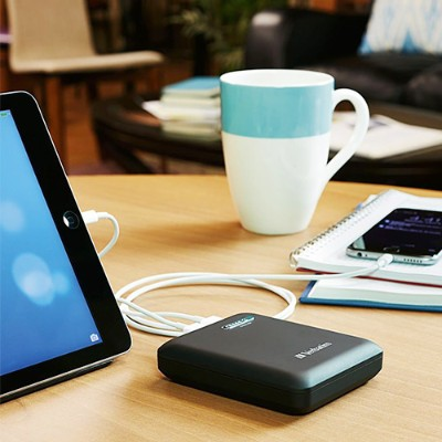 Verbatim 98343 Dual USB Portable Power Pack - Power bank Li-Ion 12000 mAh - 2.1 A - 2 output connectors (USB (power only)) - on cable: Micro-USB