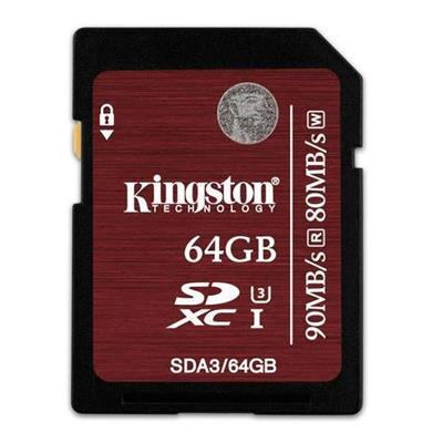 Kingston SDA3/64GB 64GB SDXC UHS-I SPEED CLASS 3 FLASH CARD