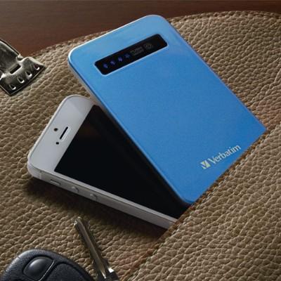 Verbatim 98451 Ultra Slim Power Pack - External battery pack Li-pol 4200 mAh - on cable: Micro-USB - aqua blue