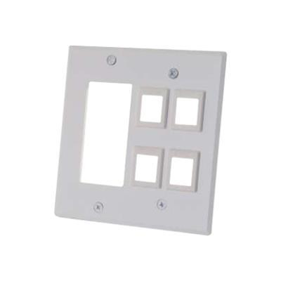 Cables To Go 41341 Decorative Style Cutout with Four Keystone Double Gang Wall Plate - White - Mounting plate - white - 2-gang