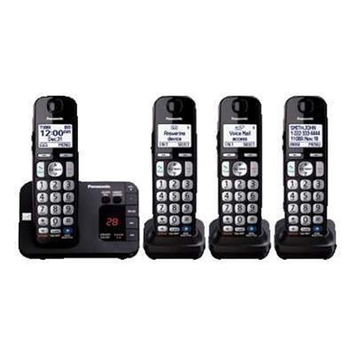 Panasonic KX-TGE234B KX-TGE234B - Cordless phone - answering system with caller ID/call waiting - DECT 6.0 Plus - black + 3 additional handsets