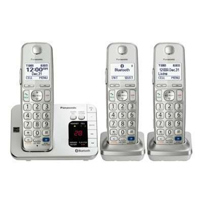 Panasonic KX TGE263S KX TGE263S Cordless phone answering system Bluetooth interface with caller ID call waiting DECT 6.0 Plus silver 2 additional ha