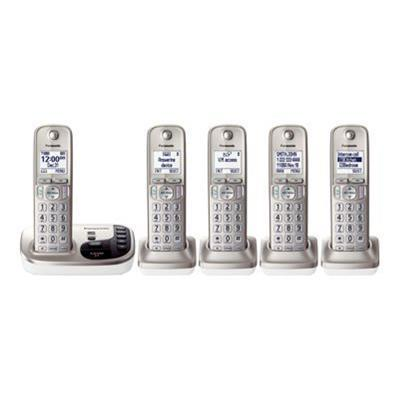 Panasonic KX-TGD225N KX-TGD225N - Cordless phone - answering system with caller ID/call waiting - DECT 6.0 Plus - champagne gold + 4 additional handsets