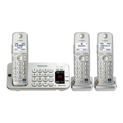 Panasonic KX-TGE273S KX-TGE273S - Cordless phone - answering system - Bluetooth interface with caller ID/call waiting - DECT 6.0 Plus - silver + 2 additional ha