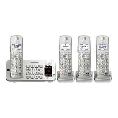 Panasonic KX-TGE274S KX-TGE274S - Cordless phone - answering system - Bluetooth interface with caller ID/call waiting - DECT 6.0 Plus - silver + 3 additional ha