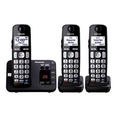 Panasonic KX-TGE233B KX-TGE233B - Cordless phone - answering system with caller ID/call waiting - DECT 6.0 Plus - black + 2 additional handsets