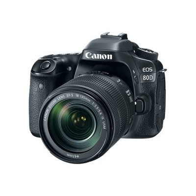 Canon 1263C006 EOS 80D - Digital camera - SLR - 24.2 MP - APS-C - 1080p / 60 fps - 7.5x optical zoom EF-S 18-135mm IS USM lens - Wi-Fi  NFC