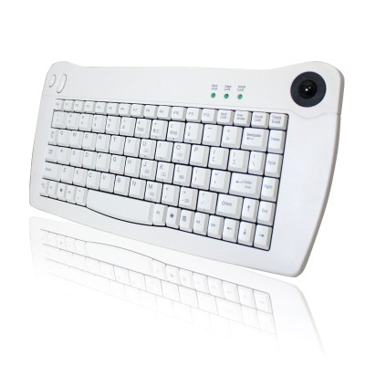 Adesso ACK-5010PW Mini-Trackball Keyboard - PS/2 - White