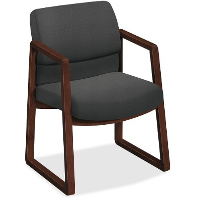 HON 2403NCU19 2400 Series Mocha Hardwood Sled Base Guest Chair - Iron Seat