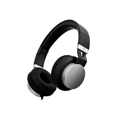 V7 HA601-3NP HA601-3NP - Headphones with mic - on-ear - wired - 3.5 mm jack - noise isolating - black/silver