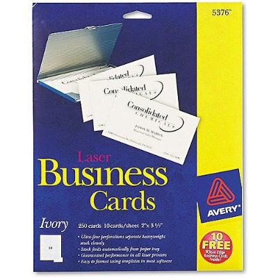 Avery Dennison 5376 Ivory - 2 in x 3.5 in 250 pcs. (25 sheet(s) x 10) business cards